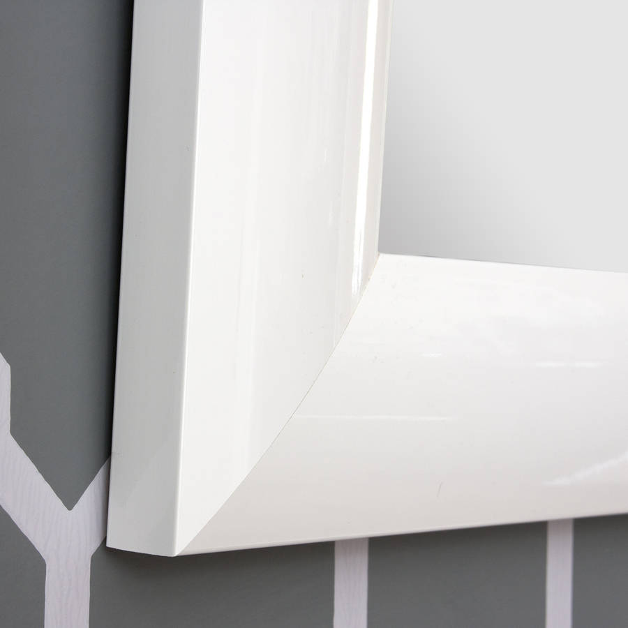 Bespoke white gloss mirror by decorative mirrors online for Fancy white mirror