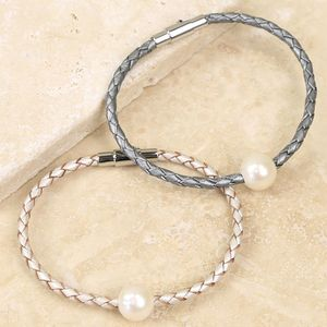 Woven Leather And Pearl Bead Bracelet