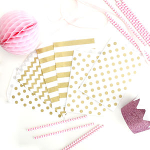 Gold Print Patterned Paper Bags - wedding favours