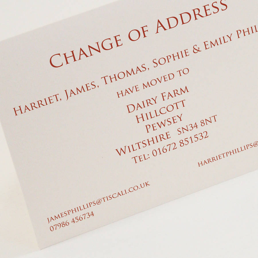 chnage of address cards