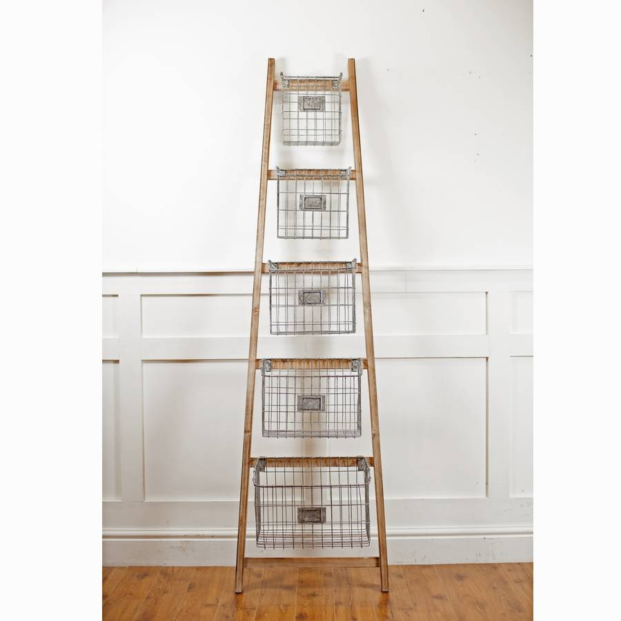 The Orchard Wooden Ladder With Storage Baskets