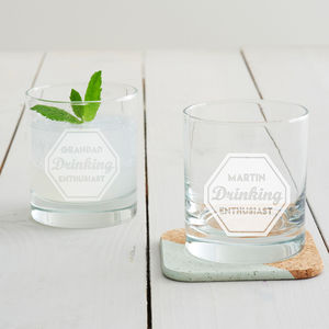 Personalised 'Drinking Enthusiast' Tumbler Glass - christmas parties & entertaining