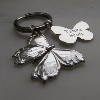 Personalised Sterling Silver Butterfly Keyring