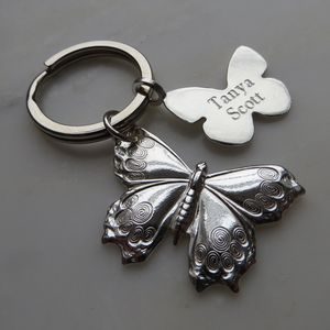 Silver Butterfly Key Ring