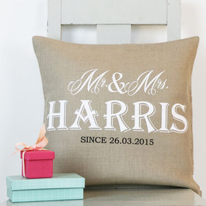 Luxurious Mr And Mrs Linen Cushion - 4th anniversary: linen