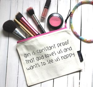 'Gin Is Proof God Loves Us' Pouch - make-up bags