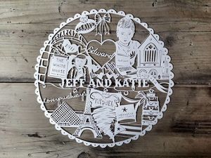 Circle Personalised Hand Cut Papercut