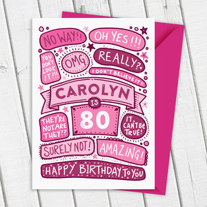 80th Omg Birthday Personalised Illustrated Card - birthday cards
