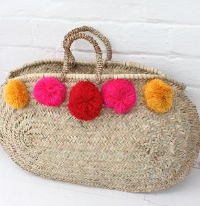 Pom Pom Beach Basket - beach bags