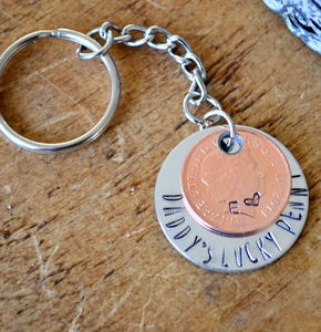 Daddy's Lucky Penny Keyring - keyrings
