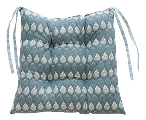 Isabella Blue And Ledbury Blue Grey Chair Pad - patterned cushions