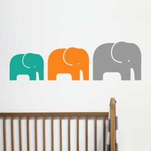 Children's Elephant Family Wall Stickers