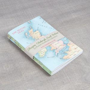 Edinburgh, Glasgow, British Isles Maps Notebooks Set