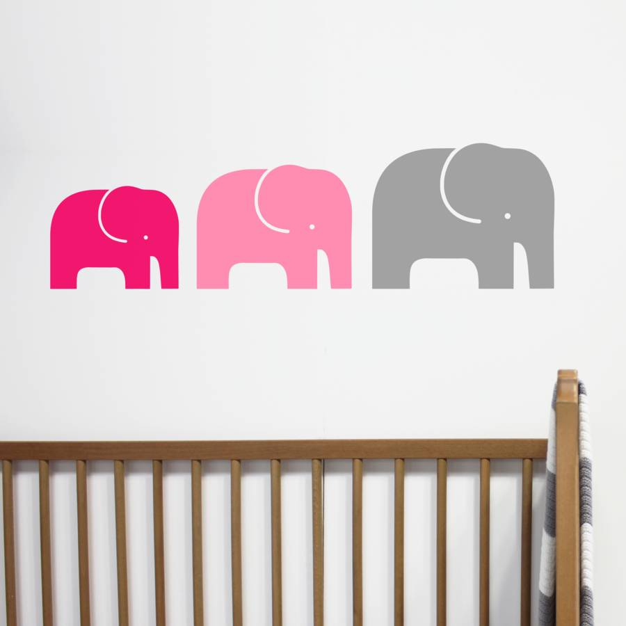 Childrens elephant family wall stickers by little chip cerise pink grey amipublicfo Choice Image