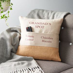 Personalised Pocket Cushion - gifts for fathers