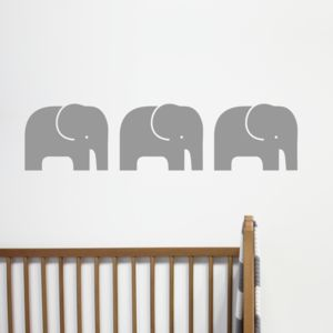 Set Of Three Elephant Wall Stickers