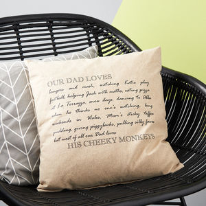 Personalised Dad Loves Cushion - decorative accessories