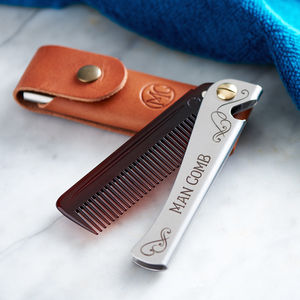Personalised Man Comb With Leather Case - men's grooming