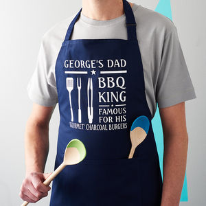 Personalised Barbecue King Apron - gifts for fathers
