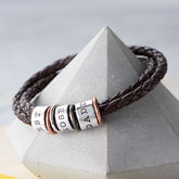 Men's Leather And Silver Story Bracelet - father's day