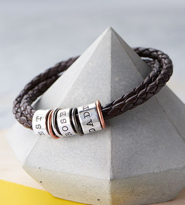 Men's Leather And Silver Story Bracelet - personalised