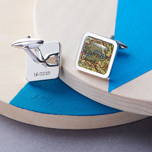 Personalised Square Map Location Cufflinks - frequent traveller