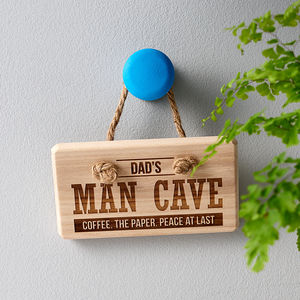 Personalised 'Man Cave' Wooden Sign - gifts for fathers