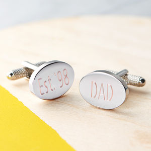 Engraved Oval Cufflinks - gifts under £50
