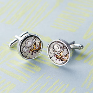 Vintage Style Round Watch Movement Cufflinks - gifts for him