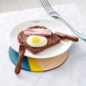 Chocolate Egg And Bacon On Toast - romantic breakfast