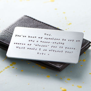 Personalised Metal Wallet Insert Card - gifts for him