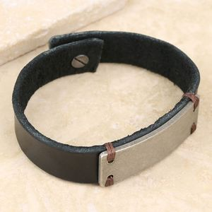 Men's Slim Leather Cuff Bracelet With Metal Plate