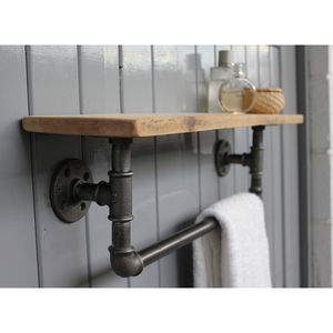 Industrial Steel Pipe Storage Shelf - bedroom