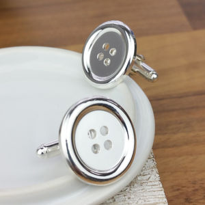 Silver Button Cufflinks - cufflinks