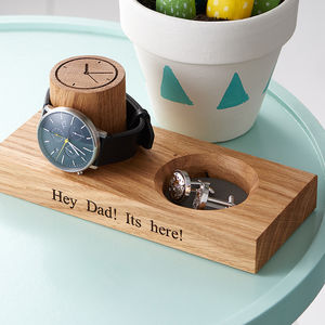 Cufflink Tray And Watch Stand - personalised