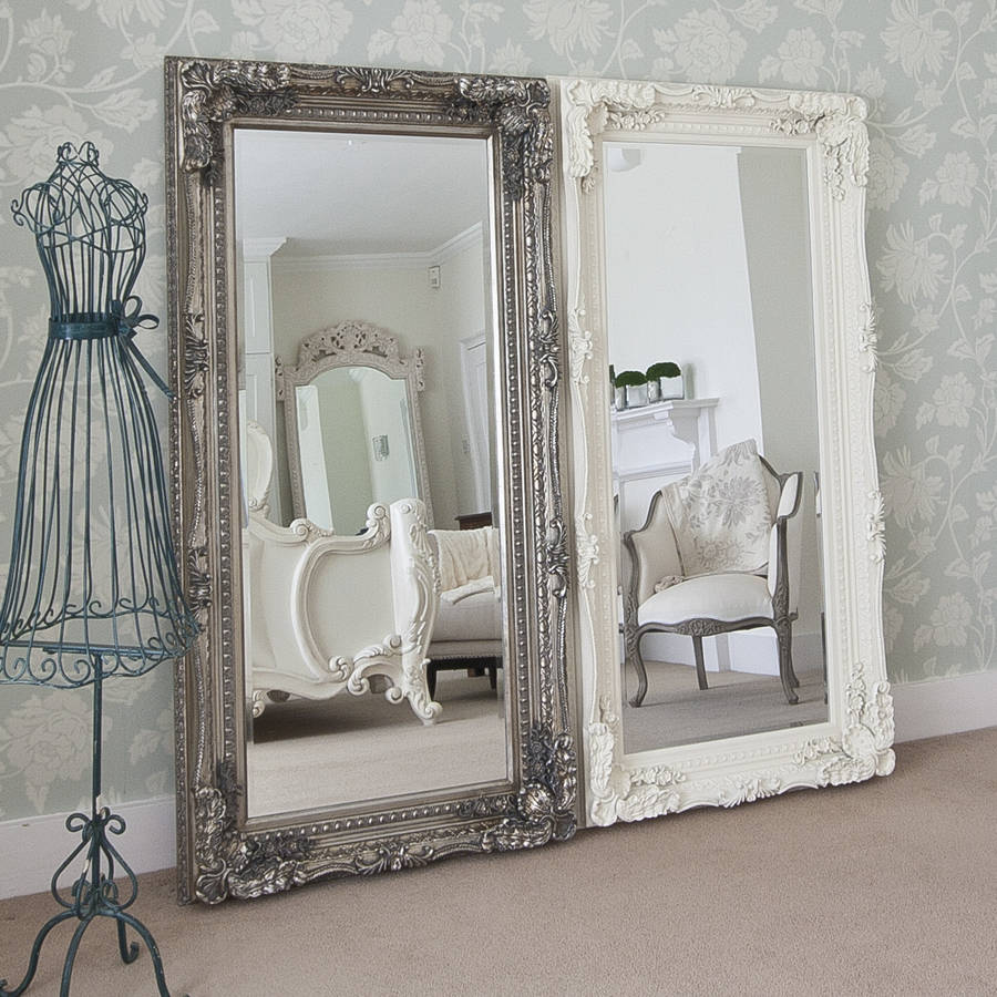 Grand silver or gold full length dressing mirror by for Fancy white mirror