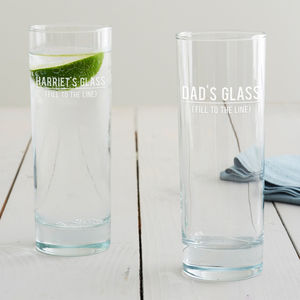 Personalised 'Fill To The Line' Hi Ball Glass - drink & barware