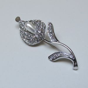 Calla Lily Diamante And Pearl Brooch - pins & brooches