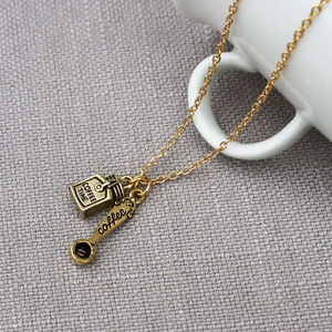 Coffee Pot And Spoon Necklace - necklaces & pendants
