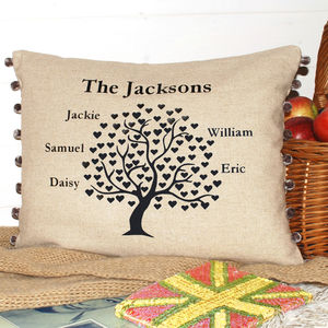 Family Tree Cushion With Pom Poms
