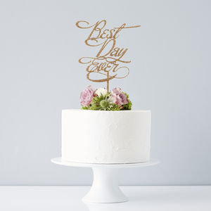 Elegant 'Best Day Ever' Wedding Cake Topper - cake toppers & decorations