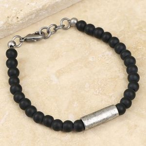 Men's Matt Glass And Metal Bead Bracelet