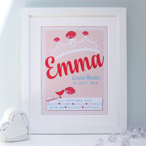 Personalised Birthstones New Baby Framed Print - pictures & prints for children