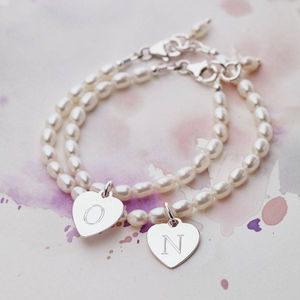 Girls Personalised Silver Charm And Hope Pearl Bracelet - gifts for children