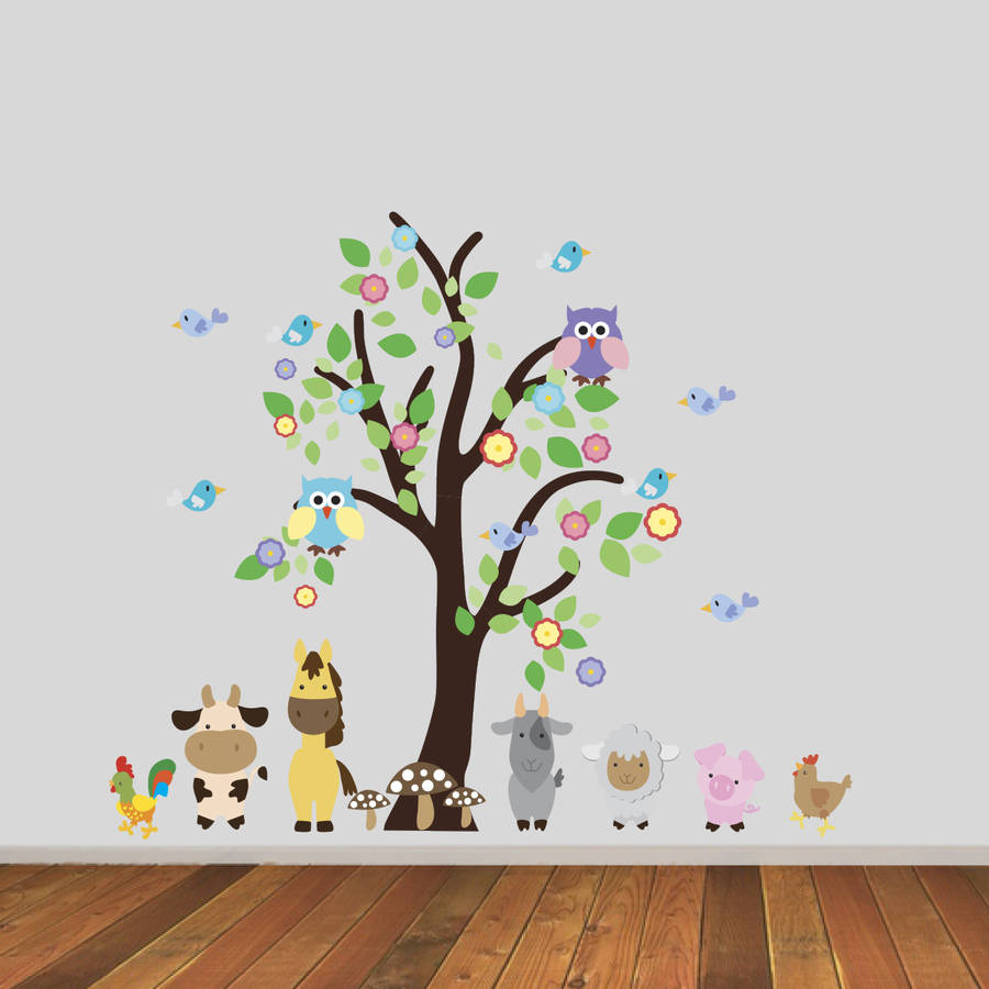 Tree With Farmyard Animals Wall Sticker By Mirrorin