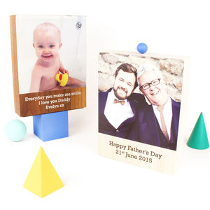 Personalised Wooden Photo Block - gifts for new dads