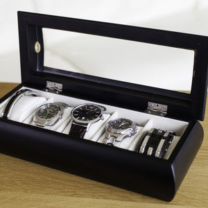 Black Stylish Watch Box - watch storage