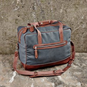 Canvas And Leather Weekend Bag - holdalls & weekend bags