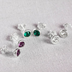 Sterling Silver And Crystal Birthstone Studs - winter sale