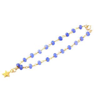 Purple Chalcedony Rosary Star Bracelet
